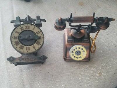 Clock Telephone Pencil Sharpener Vintage Antique Miniature Collectible Brass