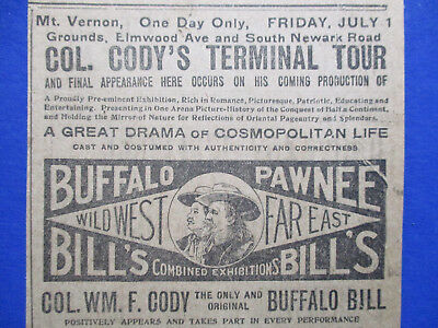 1910 Buffalo Bill Col Wm F Cody Wild West Show Pawnee Bill Ad Rough Riders