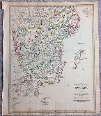 Antique Map Of The Southern Provinces Of Sweden (Sverige) -1833- SDUK