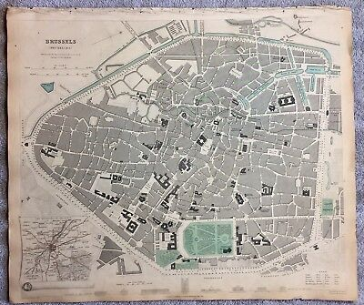 Antique Map Of Brussels (Bruxelles) -1837- SDUK- With Inset Of Brussels Environs