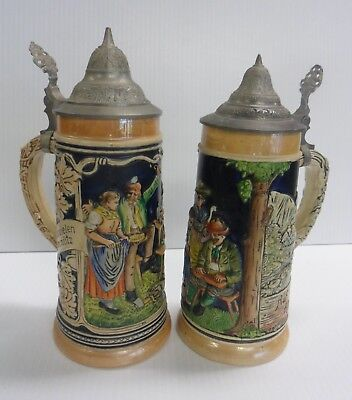 """Germany BEER STEIN Hand Painted FRIENDS and MOUNTAIN SCENE 9"""" Tall Lot of 2"""