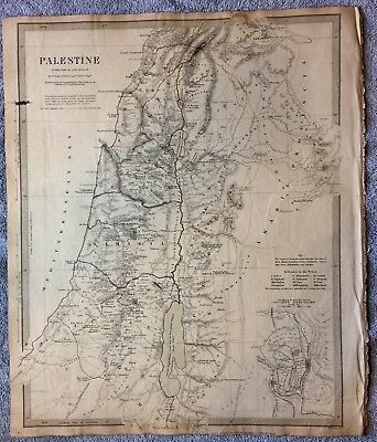 Antique Map Of Palestine From 1843- SDUK- With Inset Of Ancient Jerusalem