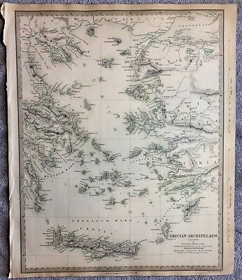 Antique Map Of Grecian Archipelago - 1834- SDUK- Engraved By J.&C. Walker