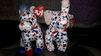 Ty Beanie Babies Righty the Elephant and lefty the Donkey set, 2004 MINT