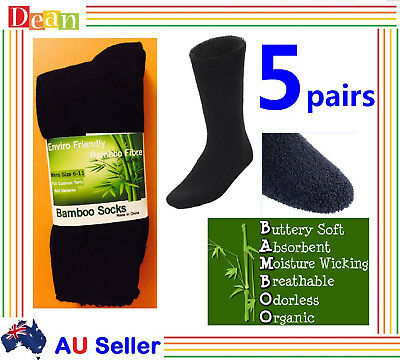 5Prs 90% Bamboo Work Socks Men's Heavy Duty Thick Work Socks Cushion BULK Black