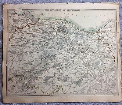 Antique Map The Environs Of Edinburgh - 1838 - SDUK- Engraved By BR Davies