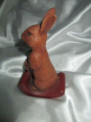 Vintage Chocolate Brown Rocking Bunny Rabbit Figurine Signed 1984