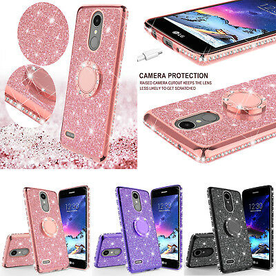 For LG Stylo 4/Stylo 4 Plus Cute Ring Stand Glitter Bling Phone Case w/Kickstand