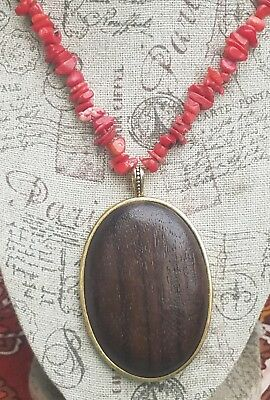 Carolee Red Coral Oval Wood ? Pendant Chunky necklace