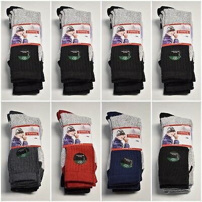 3-6-12 Pair Thermal Heavy Duty Winter Crew Socks Asst Colors Mens Size 10-15