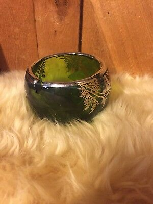 Vintage Sterling Silver & Green Art Glass Ashtray Art Deco Mid Century