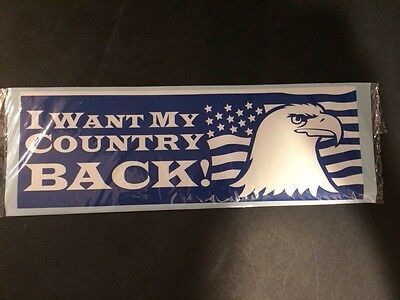 Large I WANT MY COUNTRY BACK BLUE EAGLE USA AMERICA Bumper Sticker Decal