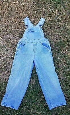 Vintage 90s GUESS Jeans Denim Overalls Womens Size Medium red triangle