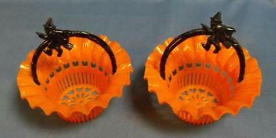 2 Vintage Best Usa Halloween Witch Party Favor Plastic Baskets