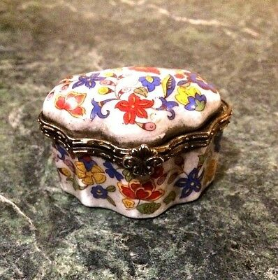 Limoges  France Style Porcelain Jewelry Hinged Trinket Box