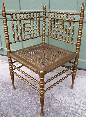 Faux Bamboo Gilded 19th Century Corner Chair by Heywood Wakefield