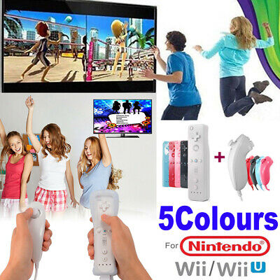 REMOTE CONTROLLER and NUNCHUCK FOR NINTENDO WII & WII U + SILICONE + STRAP SET.