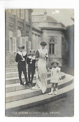 1911 Queen Elizabeth and Her Children Postcard - RPPC - Belgium