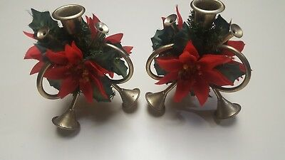 Pair Of Vintage Brass Triple French Horn Red Poinsetta Candle Holders