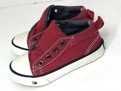 095bff907 Tommy Hilfiger Toddler Boys Shoes Lil Lawrence Size 6 Canvas High Top EUC