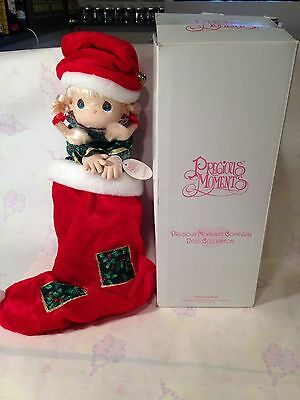1998 Precious Moments Christmas Eve Holiday Stocking Doll Decoration With Box