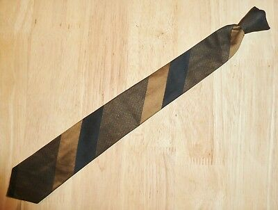 "Vintage Mens Clip-On Tie ""snapper"" Retro Skinny - Gold & Black Stripe"