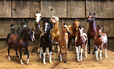 Lot Of 10 Vintage Collectible BREYER Horses Different Sizes