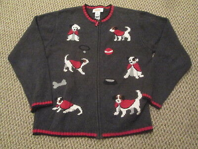 806df07c3037 TALBOTS DOG SWEATER Gray Multicolor Dogs Zipper Front Cotton Blend ...