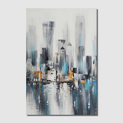 New York Nightscape Skyline Abstract Hand Painted Semi-Abstract Wall Canvas Art