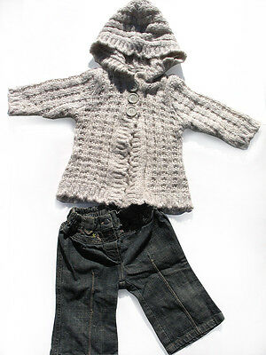 Pumpkin Patch Baby Girls Oatmeal Cardigan & Denim Jeans  - Size 6 -12 months