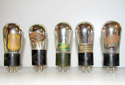 5 Uncommon Globe style UX-201A radio amplifier tubes. TV-7 test strong to NOS.