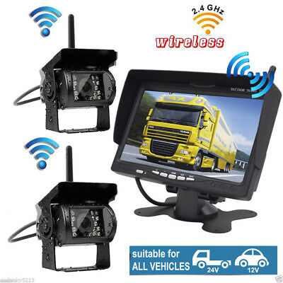 """7"""" LCD Monitor+Dual Wireless Rear Side View Camera Night Vision For RV Truck VAN"""