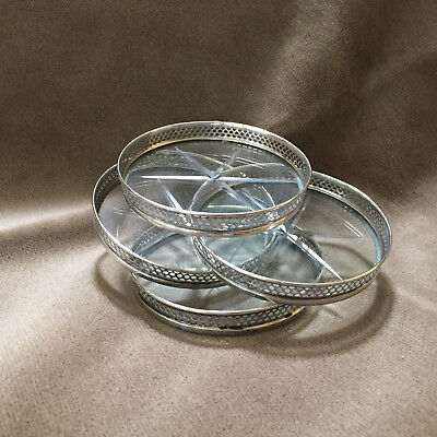 Set of 4 Webster Co. Sterling Silver and Cut Glass Coasters