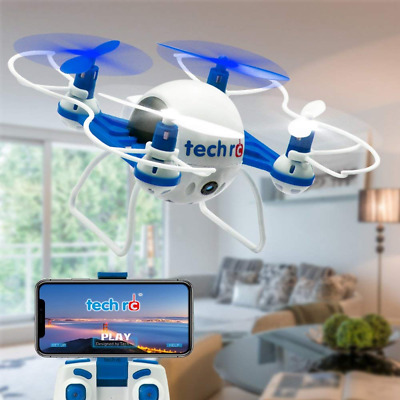 Mini Drone with HD Camera WiFi FPV Live Video Headless Mode 2.4GHz 6 Axis Blue