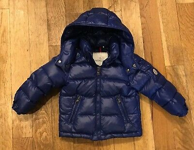 91633ee2a9bb MONCLER BOY S BLUE Down Quilted Hooded Puffer Jacket Coat Size 2 ...