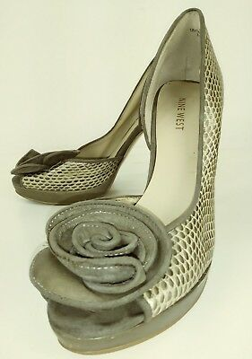 b01538dd7e8c Nine West MAKEASCENE Wos Heels US 7 M Gray Snake Embossed Floral Party 1166