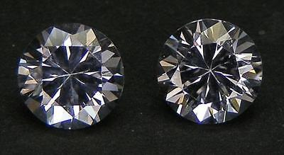 Matched Pair Excellent Cut Round Brilliant 6.7 Mm. White Sapphire Lab Corundum