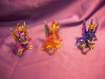 Crystal/glass Winged Dragon With Crystal Ornaments Set Of 3 Fantasy