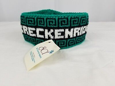 Vintage Ski Breckenridge Winter Headband 80s 90s Skiing Turquoise Green