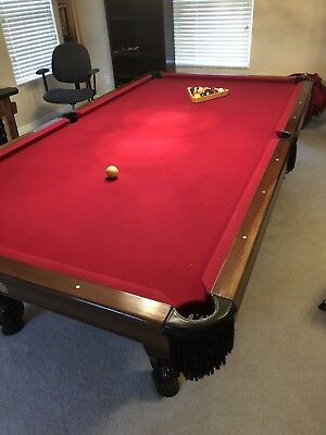Custom Built Solid Cherry Billiards Pool Table Claw Legs & Leather Drop Pockets