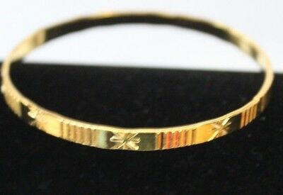Girls 4  Mm Pretty  Patterned Yellow Gold Plated  Bangle Free Post In Oz