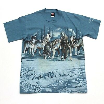 VTG 90s Signal Sport Wolf Pack Blue All Over Print Wildlife T Shirt Men's Medium