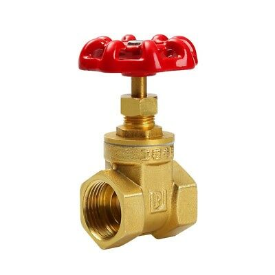 1PCS Water Brass Gate Valve Red Cap Shaped Handle Female Threaded Dual Ports
