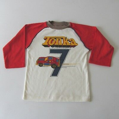 Vintage 80s Tonka Race Cars Raglan Long Sleeve Kids T-Shirt 6-7