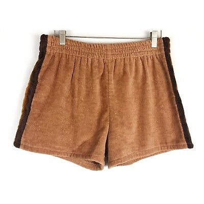 Vintage Mr. Teri Of California Size Large Mens Retro 70s Brown Terry Cloth Short