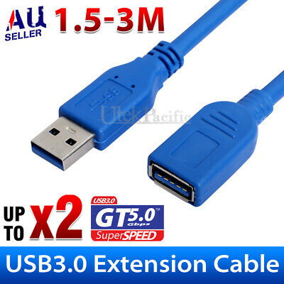 New USB 3.0 Super Speed Extension Cable Insulation Protected Male to Female Aus