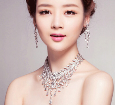 Shiny Silver Crystal Bridal Jewelry Set Necklace Earring Party Wedding Prom Set