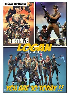 FORTNITE PERSONALISED BIRTHDAY CARD 2 SIZES AVAILABLE -A5/A4 size- ANY NAME AGE