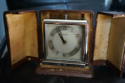 Vintage Art Deco Spring  Drgm German Travel Clock With Leather Case