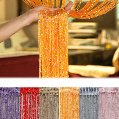 200*100CM Sparkle Curtains Fly Screen Fringe Tassel Curtain Window Room Decors